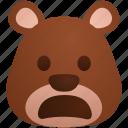 bear, emoji, emoticon, expression, shocked, surprised icon