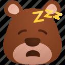 animal, bear, emoji, night, sleep icon