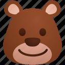 bear, cartoon, emoticon, face, happy, smile, smiley icon