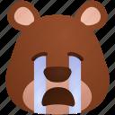 animal, bear, cry, emoji, sob, sticker icon