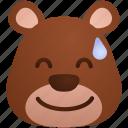 bear, emoji, emoticon, face, happy, smile, sweat icon