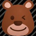 avatar, bear, emoticon, happy, smiley, sticker, wink icon