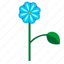 blue, bud, flower, leaf, plant icon