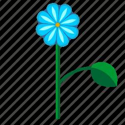 blue, bud, flower, leaf, plant icon