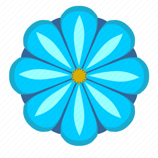 blue, bud, flower, nature, rounded icon