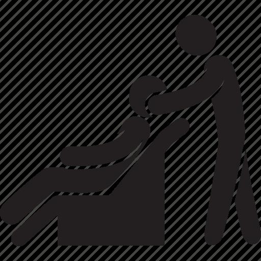 armchair, client, man, massage, masseur, spa icon