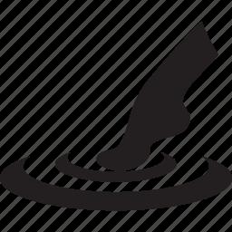 circle, foot, leg, spa, water icon