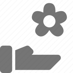 flower, hand, share, spa icon