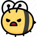 angry, bee, emoji, emotion, expression, face, feeling icon