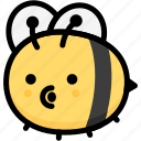 bee, blowing, emoji, emotion, expression, face, feeling icon