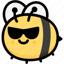 bee, cool, emoji, emotion, expression, face, feeling icon