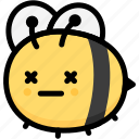 emoji, bee, expression, face, dead, emotion, feeling