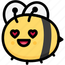 bee, emoji, emotion, expression, face, feeling, love