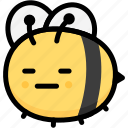 bee, emoji, emotion, expression, face, feeling, neutral