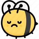 bee, emoji, emotion, expression, face, feeling, sad
