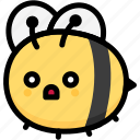 bee, emoji, emotion, expression, face, feeling, shocked