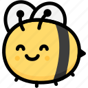 bee, emoji, emotion, expression, face, feeling, smile