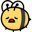 bee, emoji, emotion, expression, face, feeling, tried