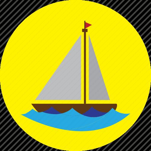 beach, boat, holiday, sea, ship, travel icon