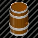 barrel, beer, cartoon, cask, isometric, pub, wood