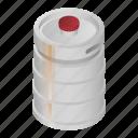 barrel, beer, cartoon, isometric, keg, metal, steel