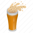 beer, cartoon, drink, foam, glass, isometric, mug