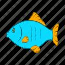 animal, blue, cartoon, fish, food, seafood, wildlife