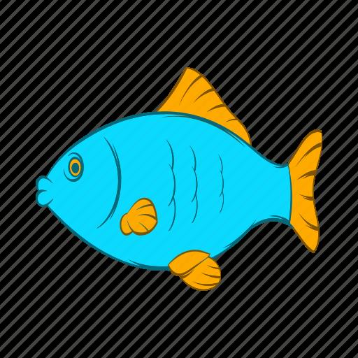 animal, blue, cartoon, fish, food, seafood, wildlife icon