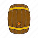 alcohol, barrel, beer, cartoon, keg, old, wooden icon
