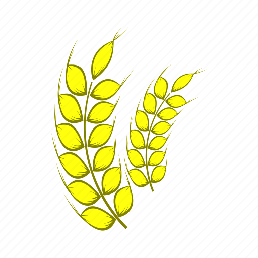 agriculture, barley, cartoon, food, plant, ripe, stalk icon