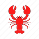 cancer, cartoon, crayfish, food, lobster, red, seafood icon
