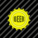 alcohol, bar, beer, beverage, cap, cartoon, metal icon