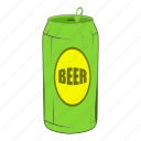 alcohol, aluminum, beer, beverage, can, cartoon, metal icon