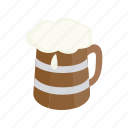 alcohol, beer, beverage, isometric, mug, pub, wooden icon