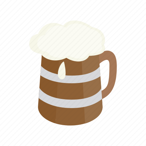 alcohol, beer, beverage, isometric, mug, pub, wooden icon