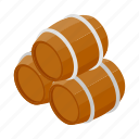 alcohol, barrel, beer, drink, isometric, storage, wood icon