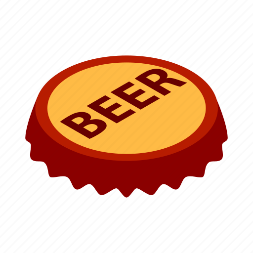 alcohol, bar, beer, beverage, cap, isometric, metal icon