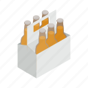 alcohol, beer, blank, bottle, box, case, isometric icon