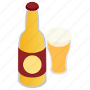 alcohol, beer, bottle, glass, isometric, mug, pub icon