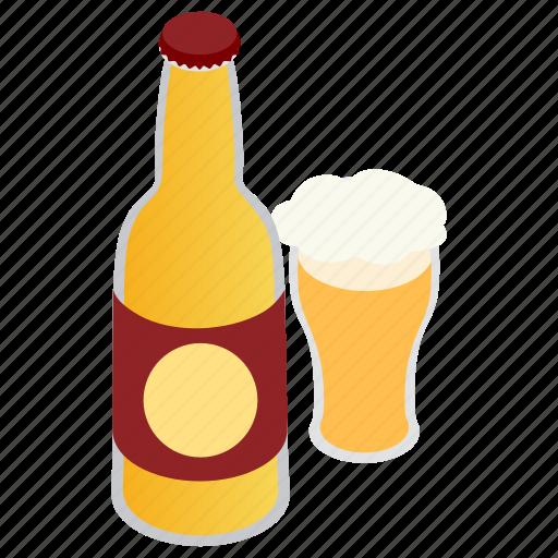 alcohol, beer, bottle, glass, isometric, mug, pub icon