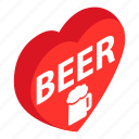 alcohol, beer, beverage, heart, love, mug, red icon