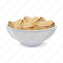 food, nut, pistachio, plate, snack icon