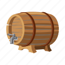 alcohol, barrel, beer, drink, keg, pub, wooden icon
