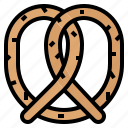 bake, eat, pretzel, snack icon