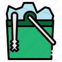 box, bucket, cubes, food, ice, restaurant, tools icon