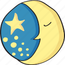 drawn, hand, moon, night, retro, sleep, stars, vintage icon