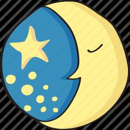 drawn, hand, moon, night, retro, sleep, stars, vintage icon