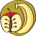 apple, banana, food, fresh, fruit, fruits icon