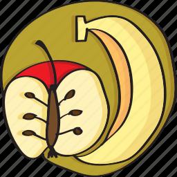 apple, banana, food, fresh, fruit, fruits icon