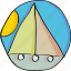 boat, drawn, float, hand, holiday, retro, sun, vintage icon
